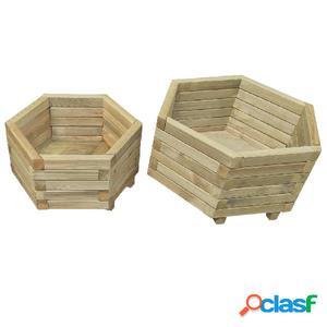 Juego de jardineras 2 unidades madera de pino impregnada