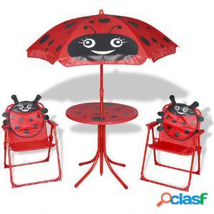 Juego de mesa y sillas de jardín infantil con sombrilla