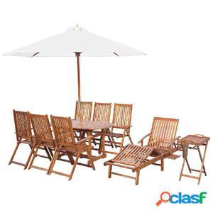 Juego de muebles de jardín de madera maciza de acacia 10