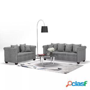 Juego de sofás 2 piezas de tela gris clara