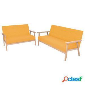 Juego de sofás de tela de 2 piezas color amarillo