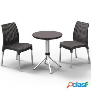 Keter Conjunto de mesa y sillas de jardín Chelsea grafito