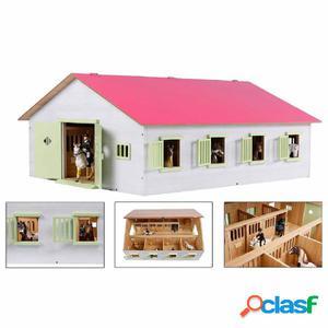 Kids Globe Establo de caballos con 7 boxes 1:24 rosa 610189