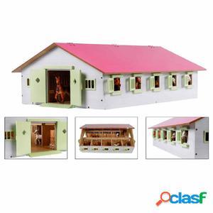 Kids Globe Establo de caballos con 9 boxes 1:32 rosa 610188