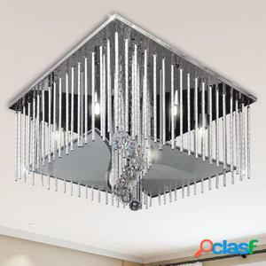 Lámpara de techo colgante rectangular de cristal y tiras de