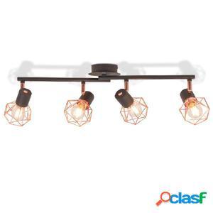 Lámpara de techo con 4 focos E14 negra y cobre