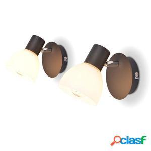 Lámparas de pared 2 unidades E14 negras