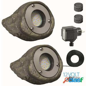 Luxform Piedras con luz para jardín Tatra 2 unidades 12 V