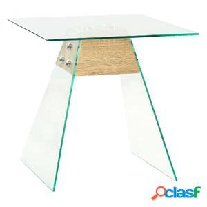 Mesa auxiliar de vidrio y MDF color roble 45x45x45 cm