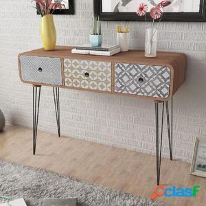 Mesa consola con tres cajones marrón