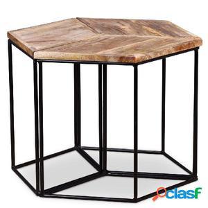 Mesa de centro de madera de mango maciza 48x48x40 cm