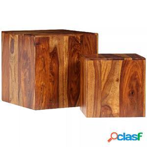 Mesa de centro de madera maciza sheesham 2 unidades 40x40x40