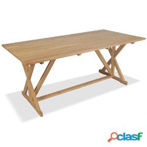 Mesa de comedor de teca maciza 180x90x75 cm