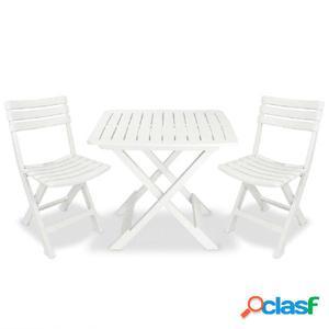 Mesa y sillas bistro de jardín 3 piezas blanco de plástico