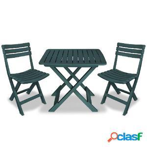 Mesa y sillas bistro de jardín 3 piezas verde de plástico
