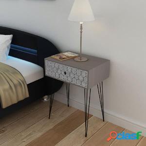 Mesita de noche rectangular con 1 cajón gris