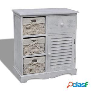 Mueble de almacenaje de madera con 3 cestas blanco