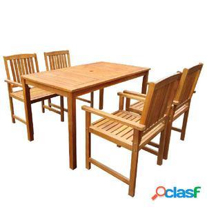 Muebles de jardín de madera maciza de acacia marrón 5