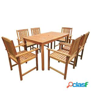 Muebles de jardín madera maciza de acacia 7 piezas marron