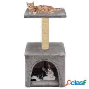Rascador para gatos con poste de sisal 55 cm gris