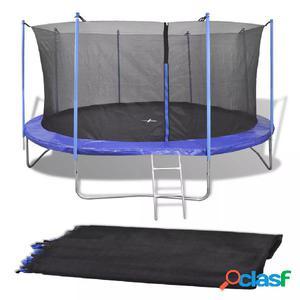 Red de seguridad para cama elástica redonda 4,57 m negra PE