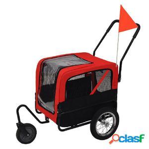 Remolque de bicicleta de mascotas y carriola 2 en 1 rojo