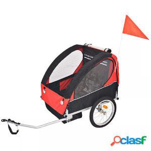 Remolque de bicicleta para niños rojo y negro 30 kg