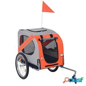 Remolque de bicicleta para perros naranja y gris