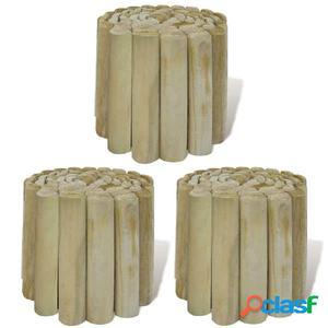 Rollo de troncos borde de jardín 3 unidades 250x20 cm