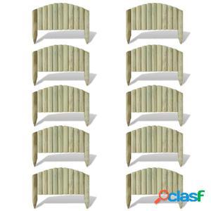 Set 10 piezas bordura de madera diseño arqueado 55 cm