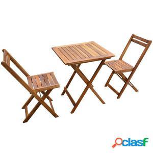 Set de bistro de 3 piezas de madera maciza de acacia