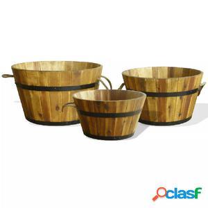 Set de jardineras 3 unidades de madera maciza de acacia