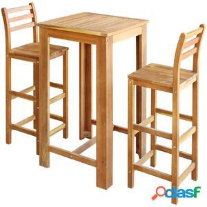 Set de mesa y taburete de bar 3 uds. madera maciza de acacia