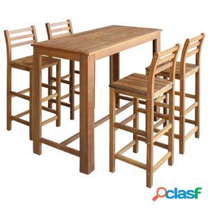 Set de mesa y taburete de bar 5 unids madera maciza de