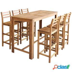 Set de mesa y taburete de bar 7 unids madera maciza de