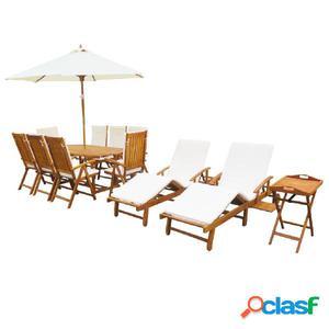 Set de muebles de jardín con cojines madera de acacia 23