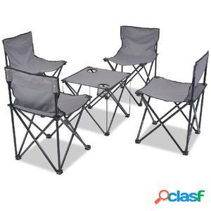Set de muebles plegables de camping 5 piezas gris 45x45x70