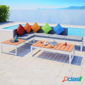 Set de sofá de esquina para jardín 19 piezas aluminio WPC