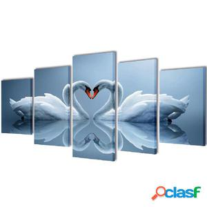 Set decorativo de lienzos para la pared modelo cisnes, 200 x