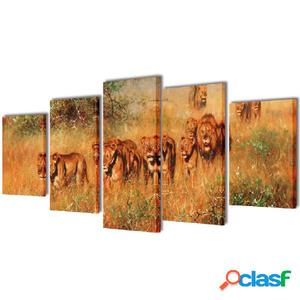 Set decorativo de lienzos para la pared modelo leones, 200 x