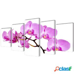 Set decorativo de lienzos para la pared modelo orquídea,