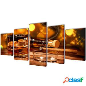 Set decorativo de lienzos para pared whisky y puro 200 x 100