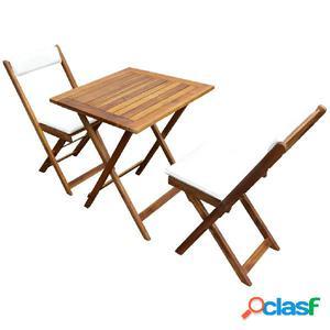 Set muebles bistro con cojines 7 piezas madera maciza acacia