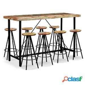 Set muebles de bar 9 piezas madera maciza reciclada