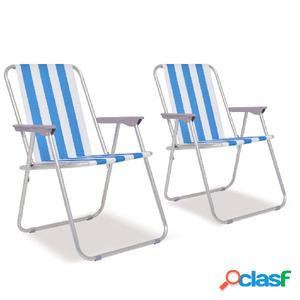 Sillas de camping plegables 2 uds acero azul blanco 52x62x75
