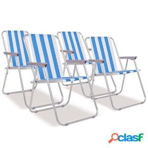 Sillas de camping plegables 4 uds acero azul blanco 52x62x75