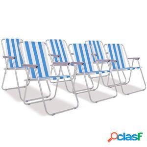 Sillas de camping plegables acero azul y blanco 6 unidades