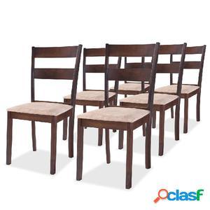 Sillas de comedor 6 unidades madera de caucho color marrón