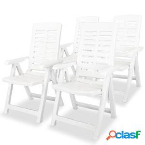 Sillas de jardín reclinables 4 uds plástico blanco
