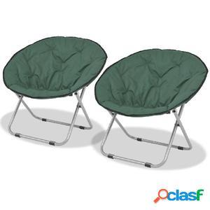 Sillas redondas plegables 2 unidades acero verde 80x67x77 cm
